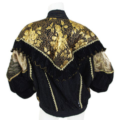 1980s Rare Black and Gold Metallic Three Piece Ensemble