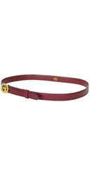 "1970s Gold ""G"" Buckle Burgundy Leather Unisex Belt"