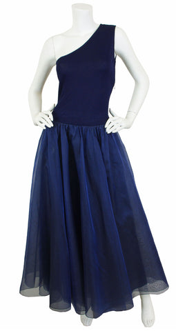 1990s Navy Knit and Silk Organza One Shoulder Gown