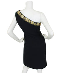 Early 1960's Gold Embroidered Black Wool One Shoulder Dress
