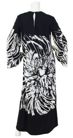1970's Abstract Black and White Jersey Caftan Dress