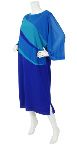 1970's Blue Ocean Waves Beach Caftan