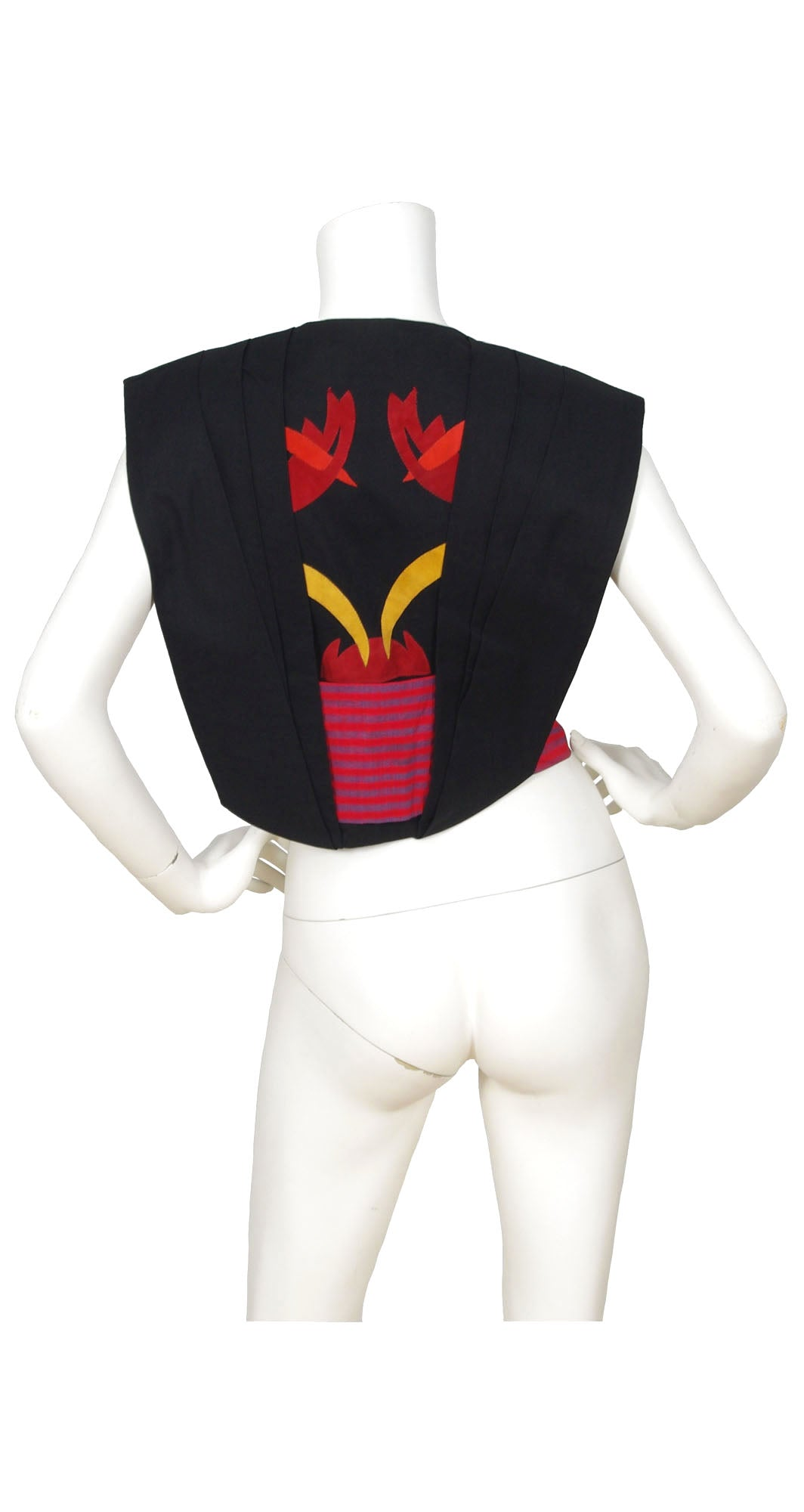 1980s Italian Leather Appliqué, Silk & Black Linen Vest