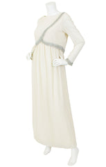 1960's Beaded Cream Chiffon Evening Gown