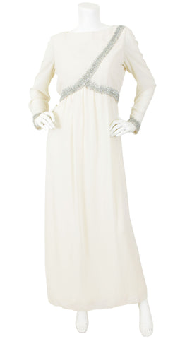 1960s Beaded Cream Chiffon Evening Gown