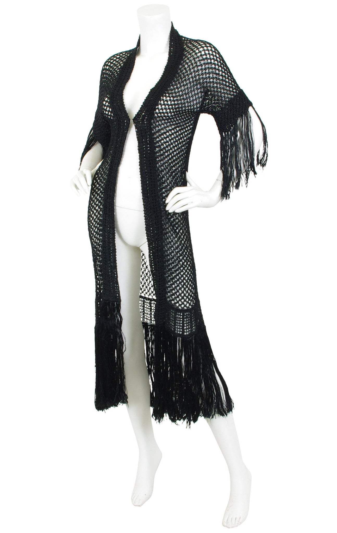 1920s Black Silk Knit Fringe Long Duster Jacket