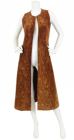 1970's Brown Suede Long Duster Vest