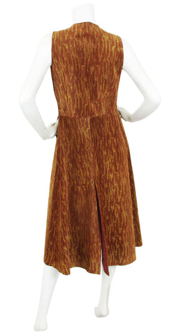1970s Brown Suede Long Duster Vest