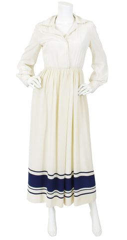 1970's Cream & Navy Silk Maxi Dress