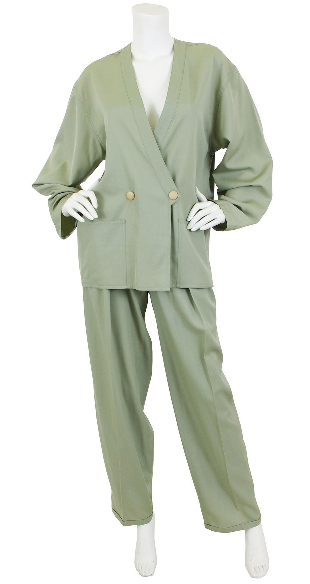 1980's Green Worsted Wool Trouser Suit