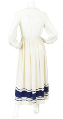1970s Cream & Navy Silk Maxi Dress