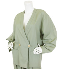 1980s Green Worsted Wool Trouser Suit