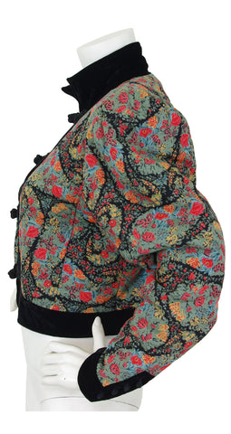 1980s Floral Paisley Quilted Wool Velvet Trim Jacket