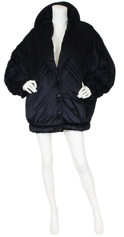 1980's Dramatic Oversized Black Velvet Puffy Coat