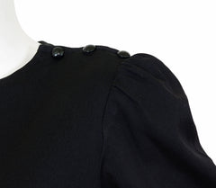 1980s Black Jersey Puff Sleeve Shirt