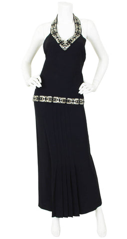 1970s Three Piece Beaded Black Crepe Evening Set