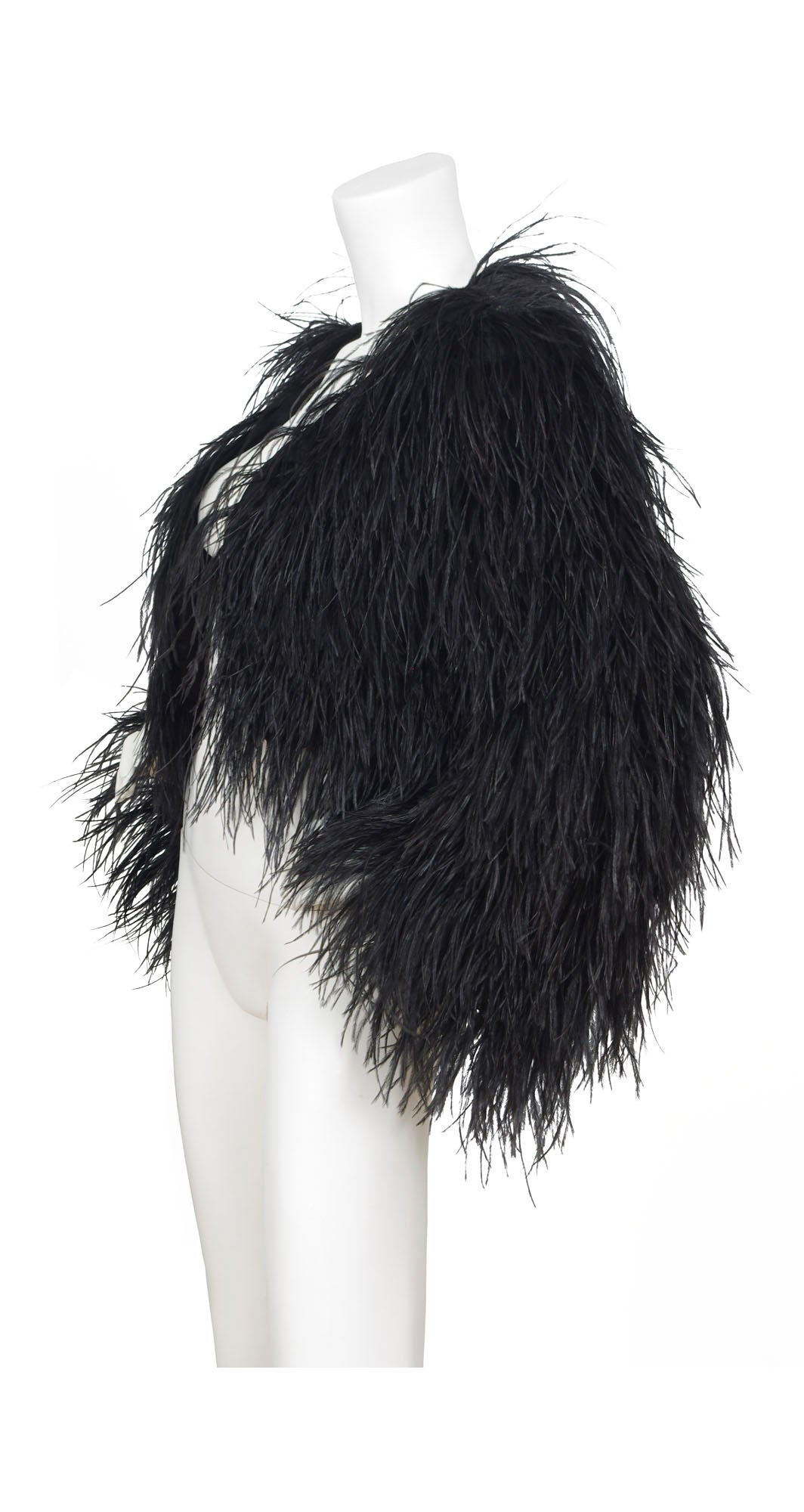 Spectacular Genuine Black Ostrich Feather Cropped Jacket