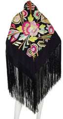 1920s Art Deco Embroidered Silk Fringe Piano Shawl