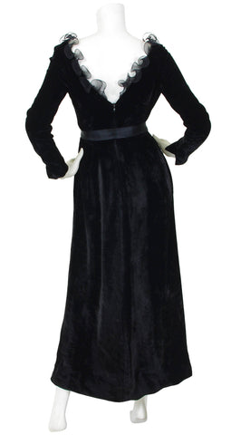 1970's Black Velvet Spiral Collar Evening Dress