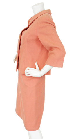 Couture Rare 1960's Pink Wool Skirt Suit