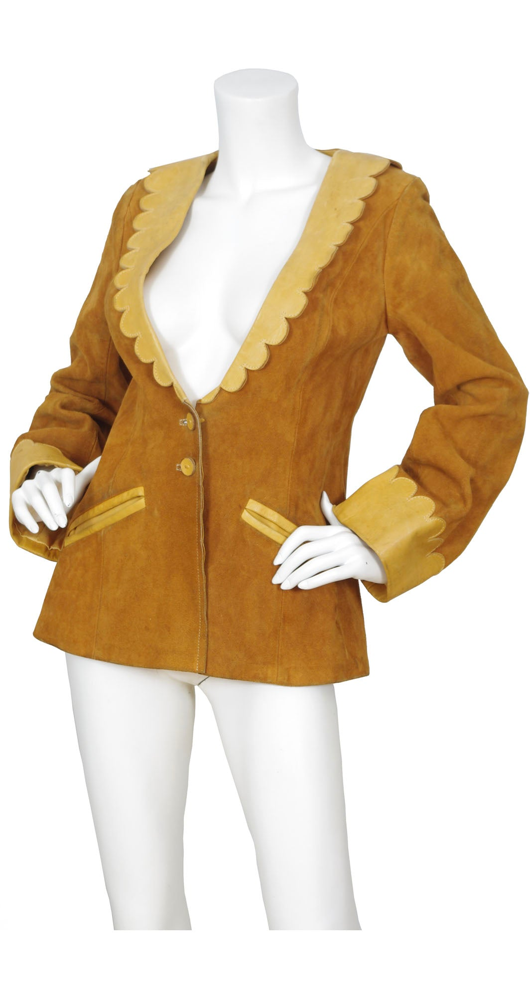 1970s Brown Suede & Scalloped Leather Jacket