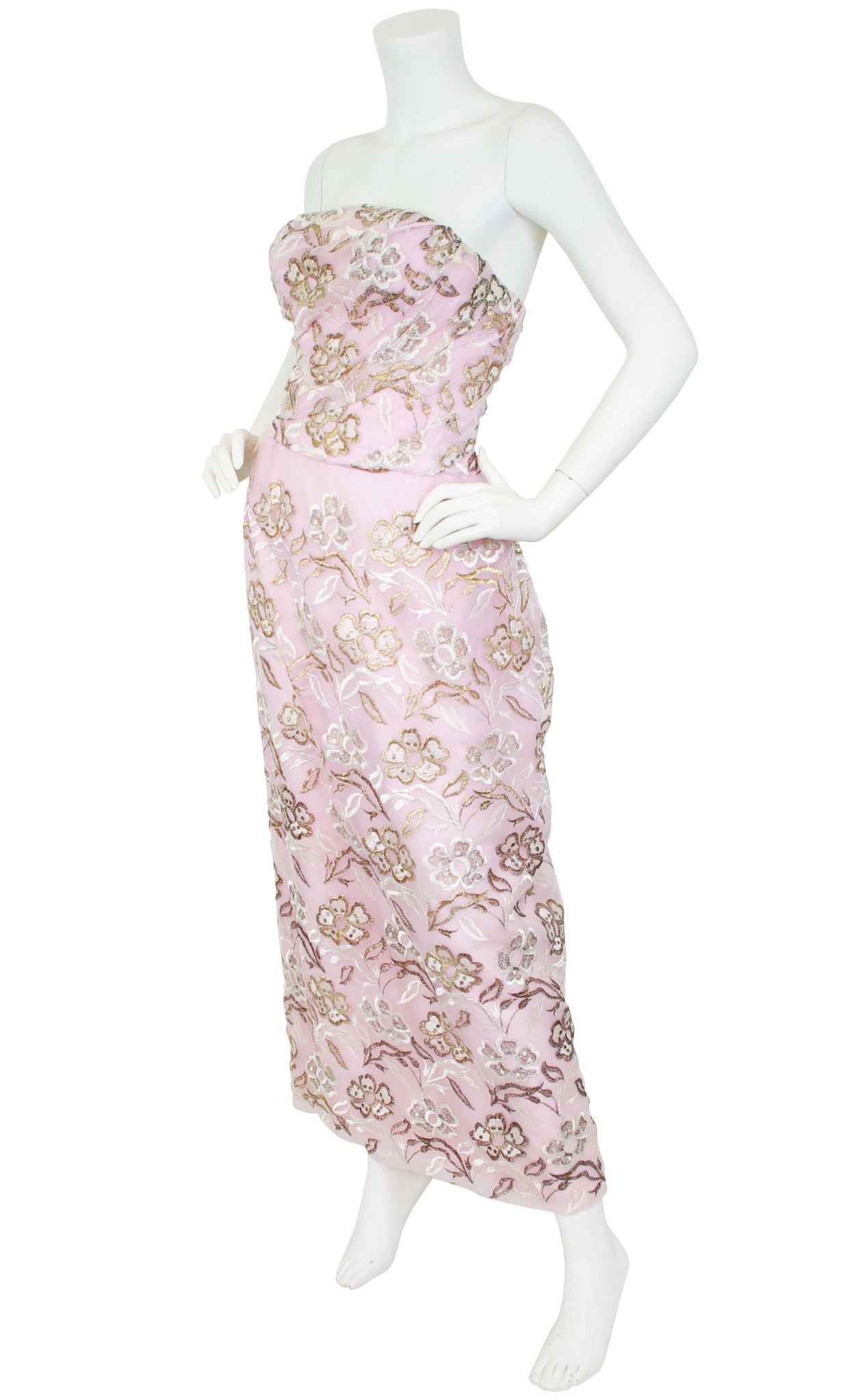 1950s Metallic Embroidered Pink Organza Gown