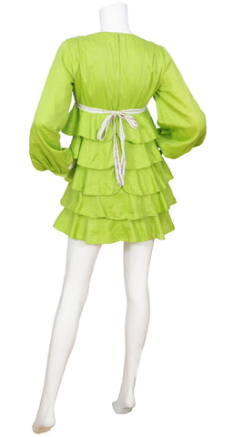 1960s Mod Lime Green Tiered Babydoll Dress