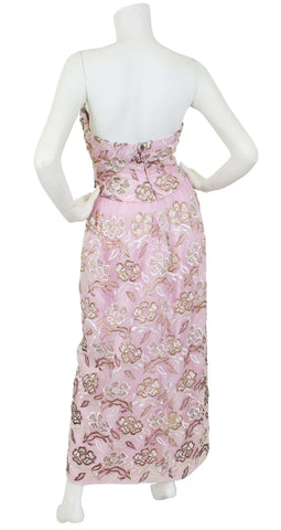 1950's Metallic Embroidered Pink Organza Gown
