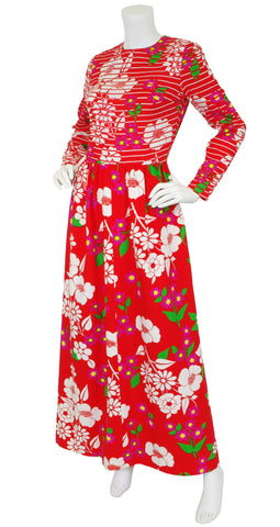 c. 1971 Red Floral Cotton & Crepe Maxi Dress