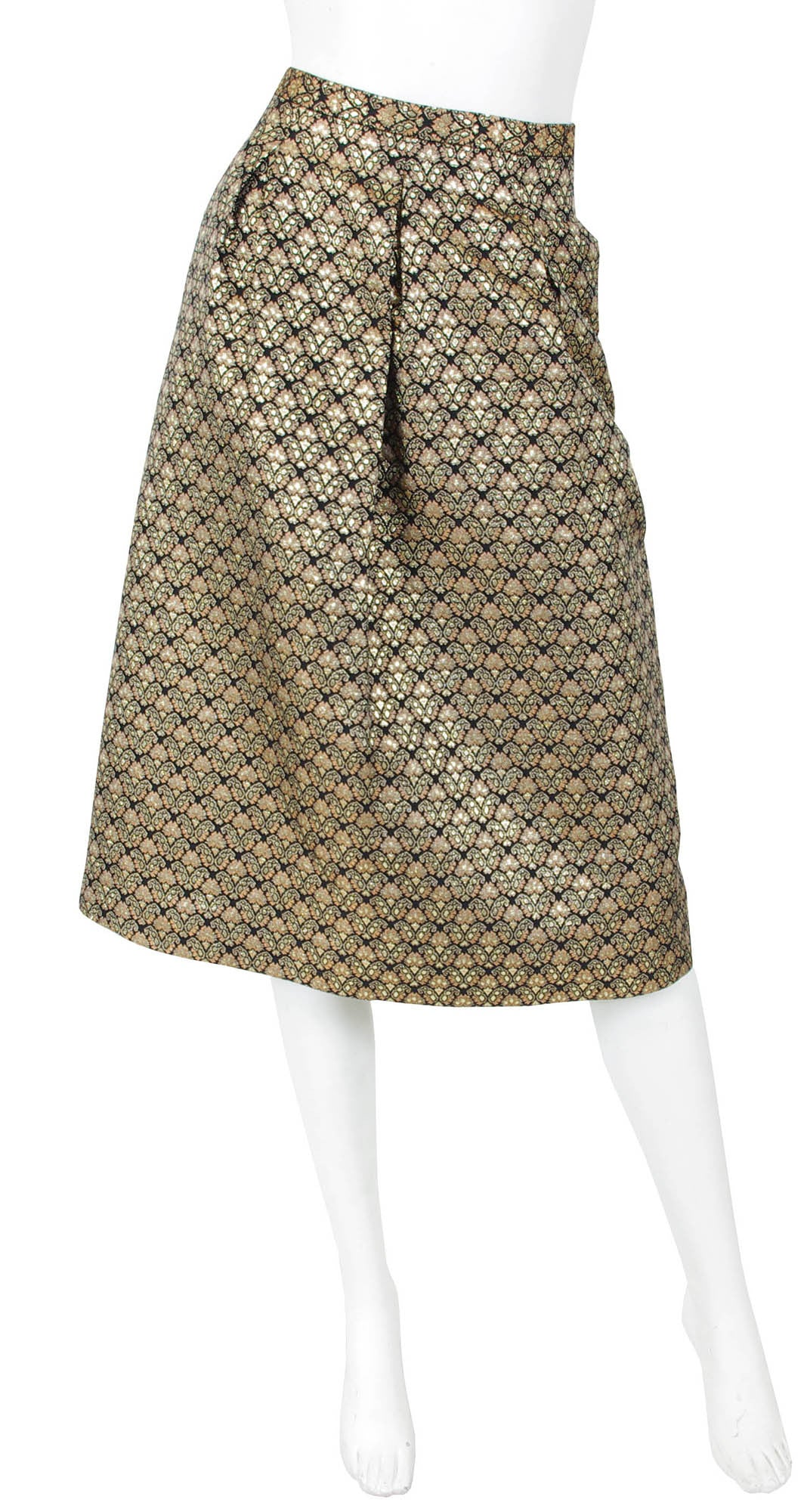 1960s Floral Metallic Brocade Evening Skirt