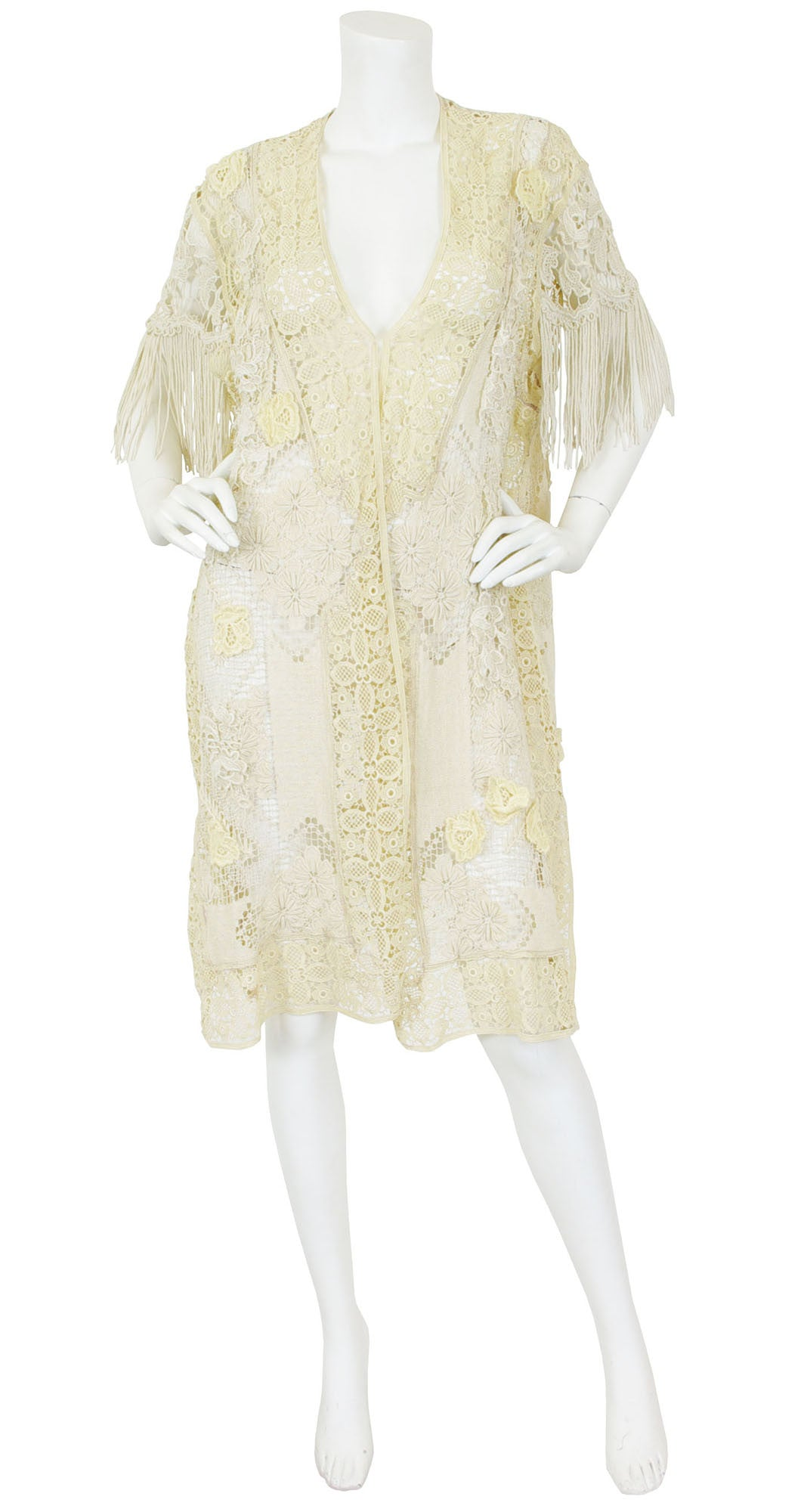 1910s Edwardian Cream Lace Fringe Tassel Jacket