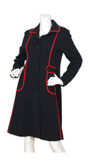 1960s Ultra Mod Black & Red Wool Jersey Coat