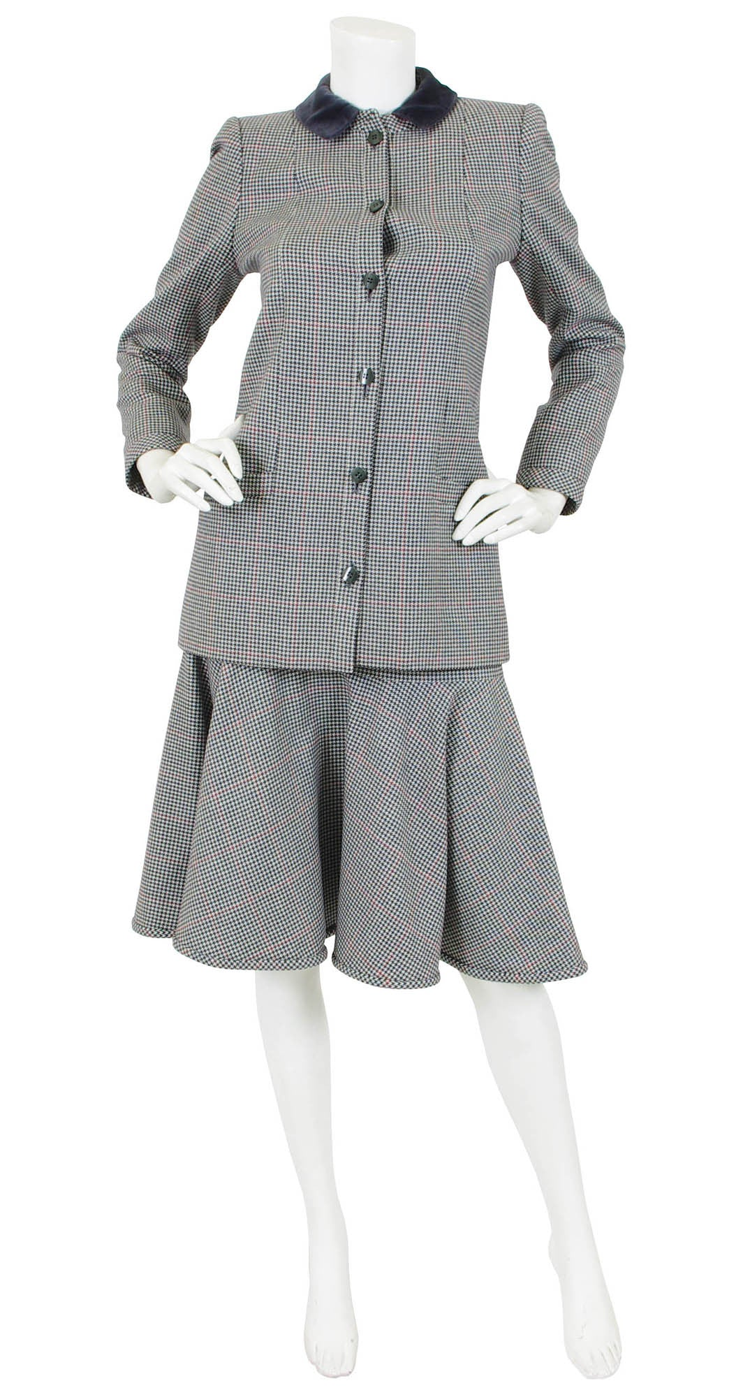 c.1980 Grey Houndstooth Wool Skirt Suit