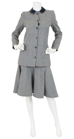 1980 Documented Grey Houndstooth Wool Skirt Suit