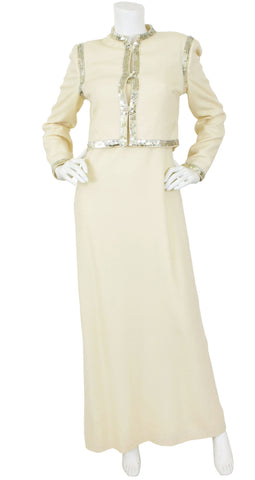 1970's Sequin Trim Cream Crepe Evening Set