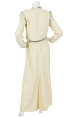 1970s Sequin Trim Cream Crepe Evening Set
