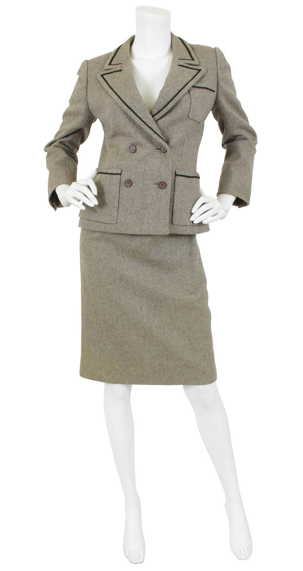 1975 F/W Haute Couture Brown Wool Skirt Suit