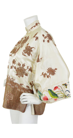 1930s Asian Silk Embroidered Bronze Couching Mandarin Jacket