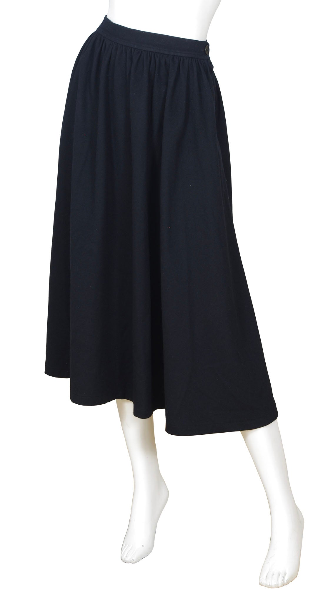 1980s Black Wool High Waisted Midi Skirt