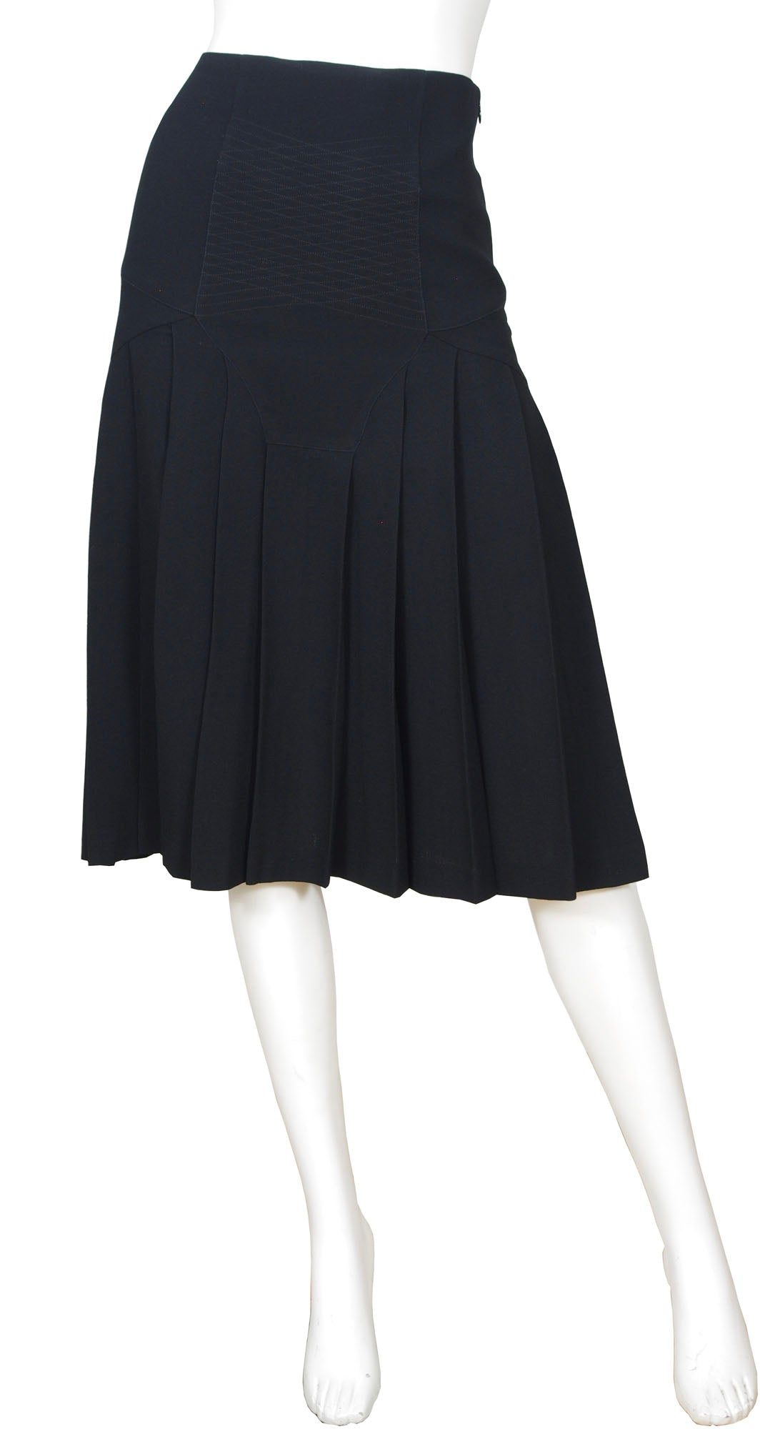 1990s Black Wool Crepe Pleated Knee Length Skirt