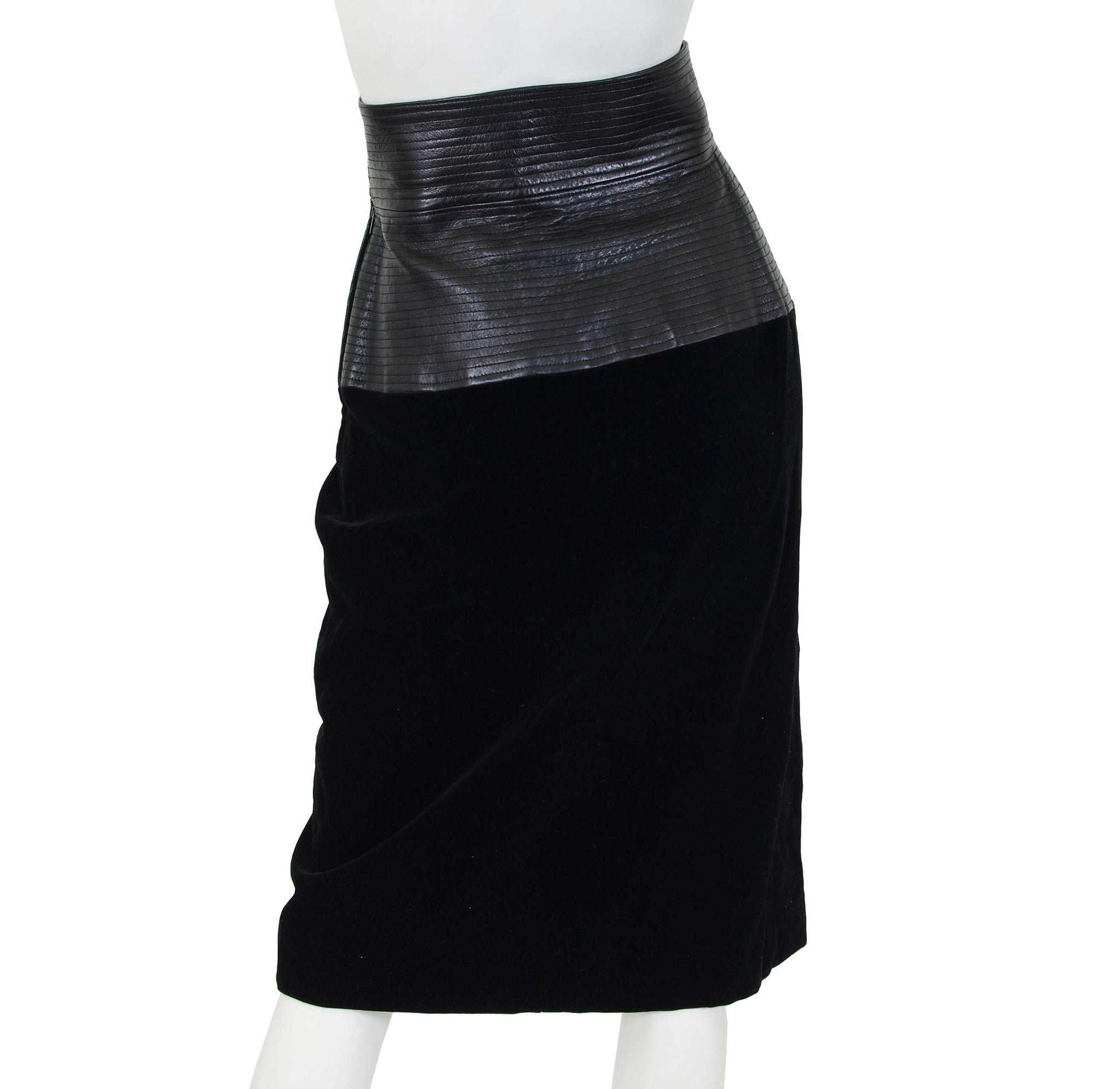 1980s Black Leather Corset & Velvet Skirt