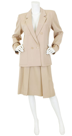 1980 S/S Beige Wool Double Breasted Skirt Suit