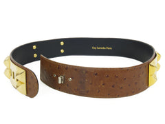 1990s Genuine Brown Ostrich Skin & Gold Belt