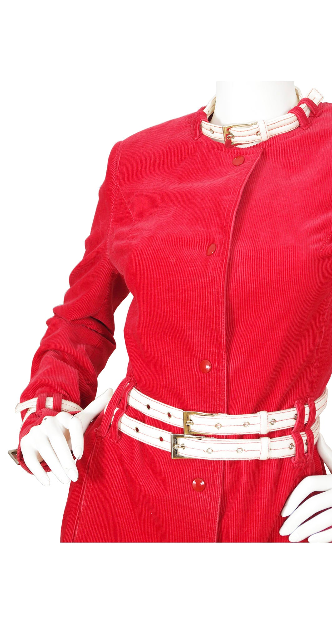 Cheap and Chic Red Corduroy Buckle Coat