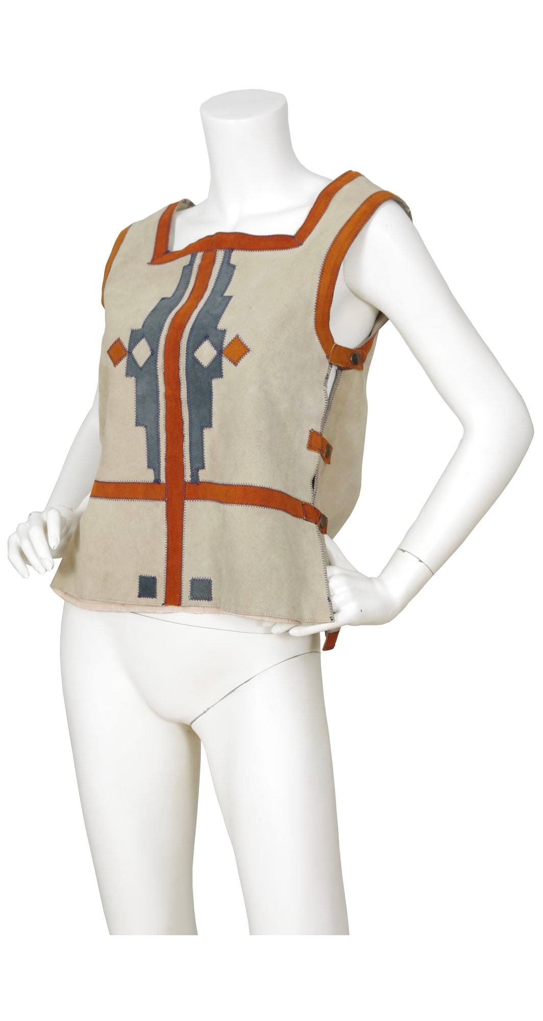 1970s Aztec Genuine Suede Gilet Top