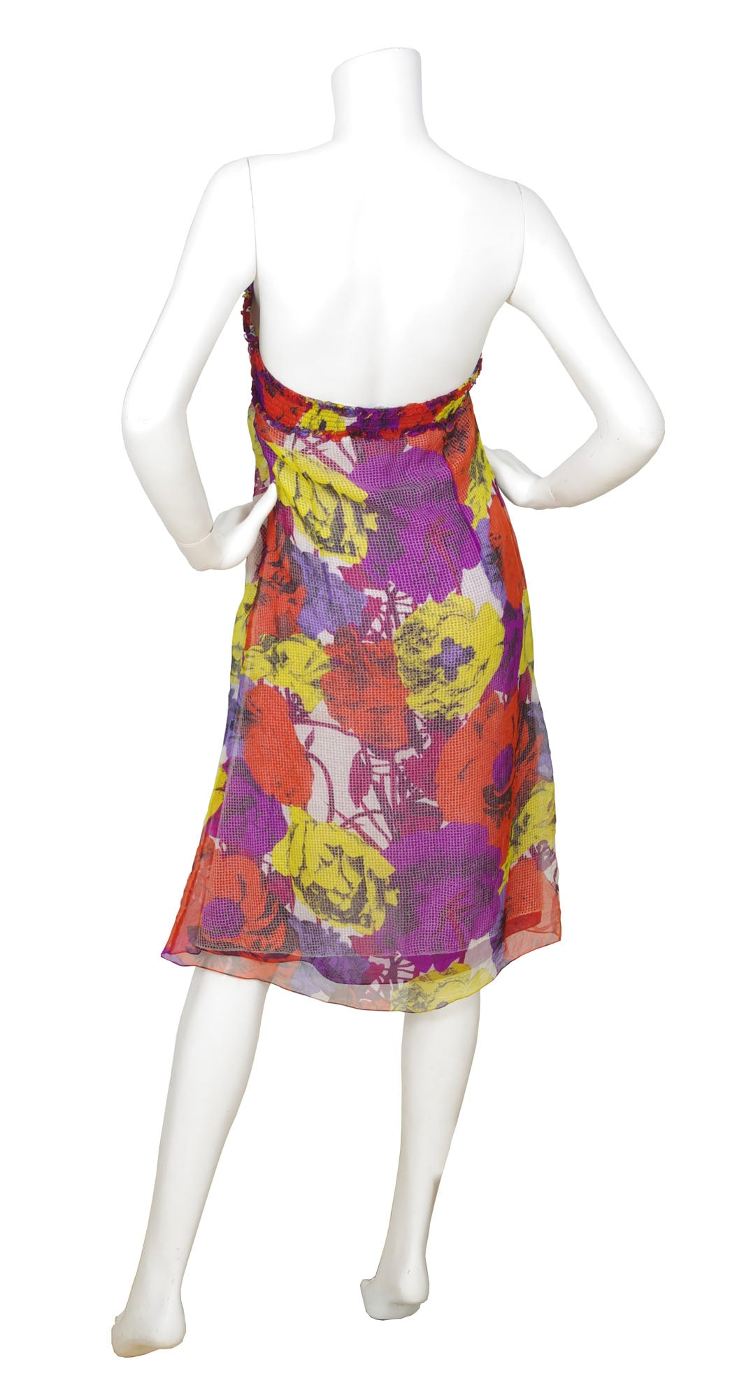 2002 S/S Documented Runway Floral Pop Art Chiffon Tube Dress
