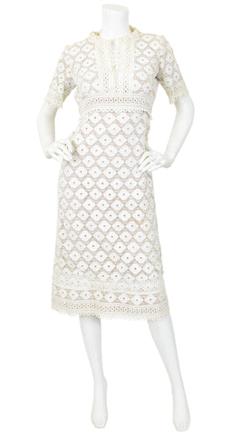 1960's White Floral Eyelet Sheer Illusion Dress