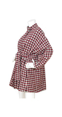 1980s Houndstooth Wool Swing Back Coat