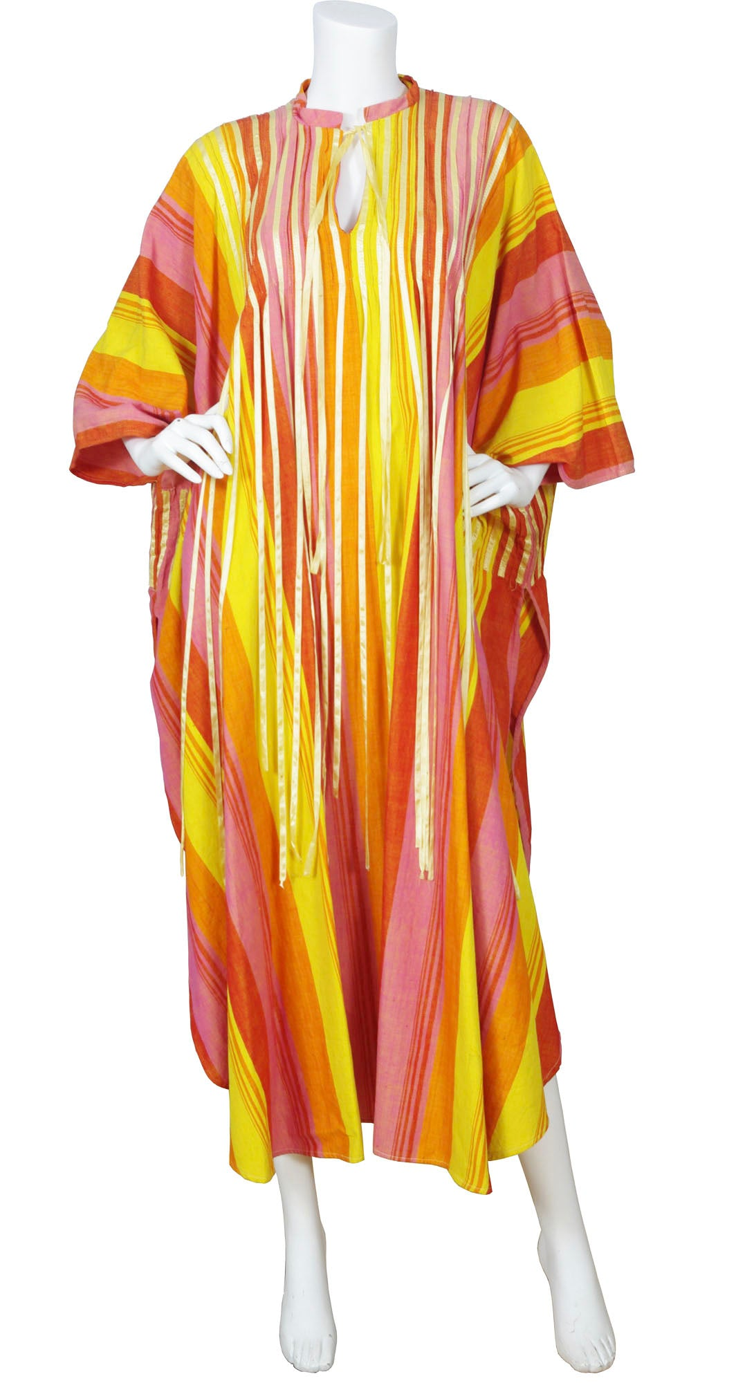 1970s Mexican Tassel Striped Cotton Caftan