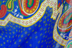 1970s Large Blue Paisley Wool Scarf